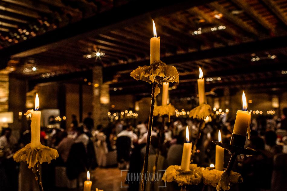 Boda en Alba de Tormes, Elena y Jose, un detalle de las velas del restaurante