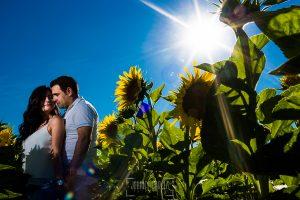 Pre boda en Iscar, Valladolid, realizada por el fotógrafo de bodas en Extremadura Johnny Garcia en 2016, Oliver abraza a Marta entre girasoles