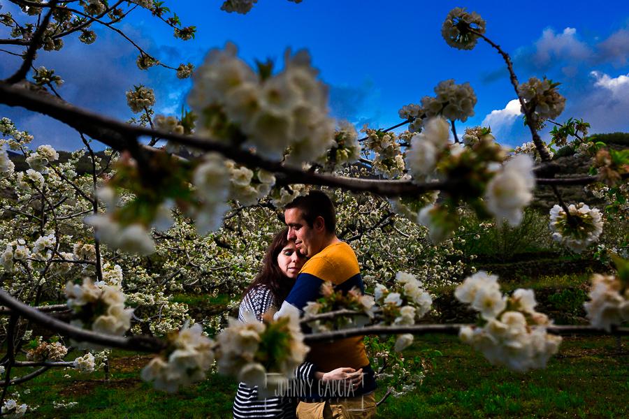Pre boda en Jerte de Regina y Antonio realizada por Johnny Garcia, fotógrafo de bodas en Extremadura, en 2016, Regina y Antonio entre las flores de los cerezos en flor del Valle del Jerte