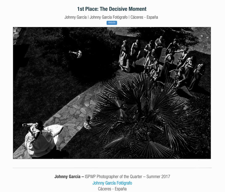 Fotografia ganadora en la categoría decisive moment en el directorio ISPWP realizada por el Fotógrafo de bodas en Salamanca Johnny Garcia, y por la que ha obtenido el primer premio en la ISPWP en su concurso de verano.
