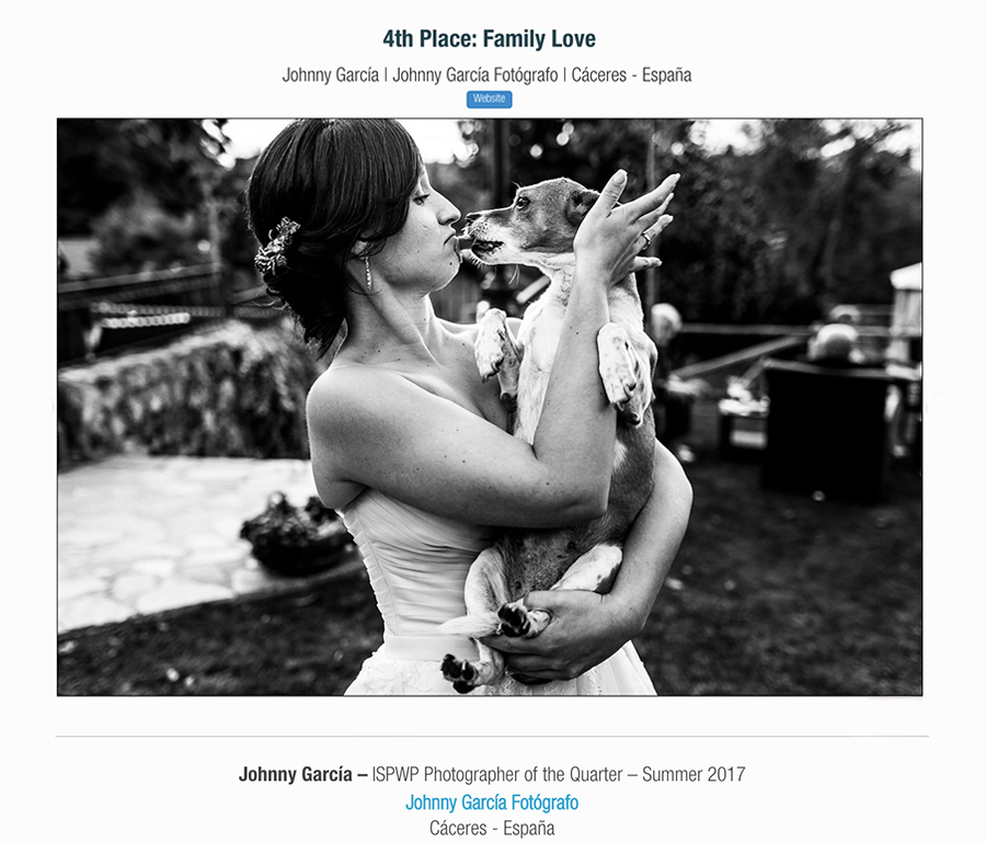 Fotografia ganadora en la categoría family love en el directorio ISPWP realizada por el Fotógrafo de bodas en Salamanca Johnny Garcia, y por la que ha obtenido el primer premio en la ISPWP en su concurso de verano.