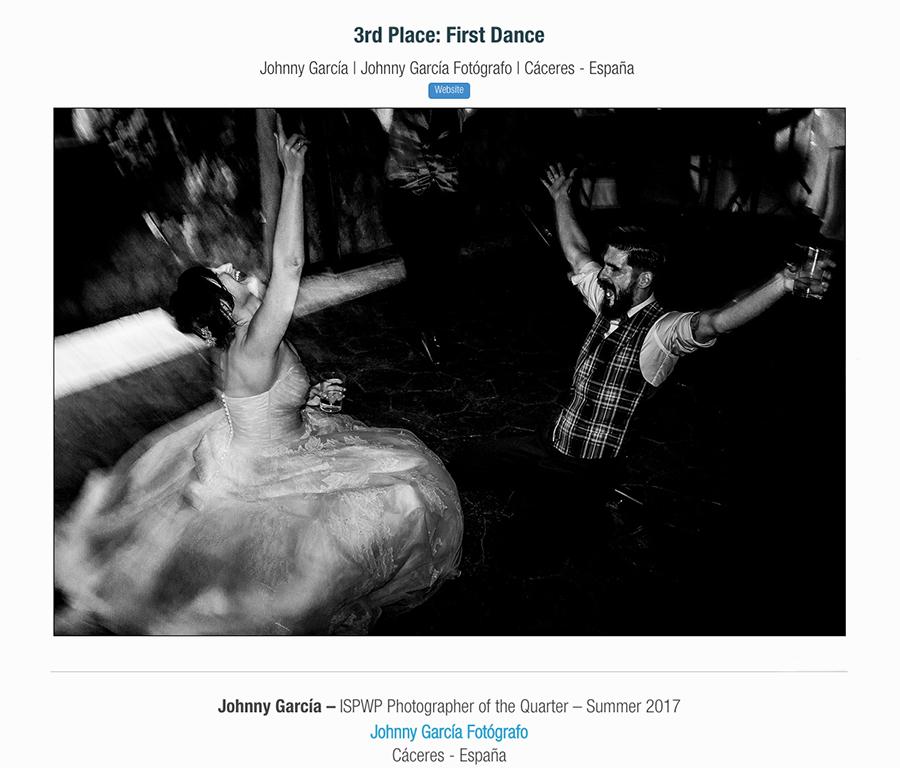 Fotografia ganadora en la categoría first dance en el directorio ISPWP realizada por el Fotógrafo de bodas en Salamanca Johnny Garcia, y por la que ha obtenido el primer premio en la ISPWP en su concurso de verano.