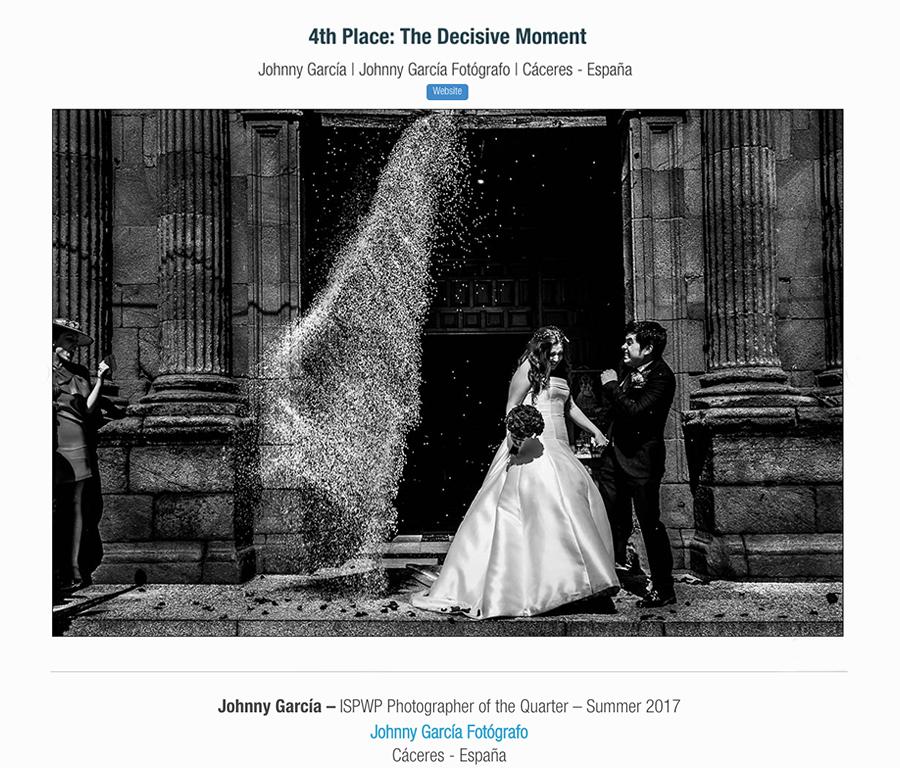 Fotografia ganadora en la categoría decisive moment en el directorio ISPWP realizada por el Fotógrafo de bodas en Extremadura Johnny Garcia, y por la que ha obtenido el primer premio en la ISPWP en su concurso de verano.