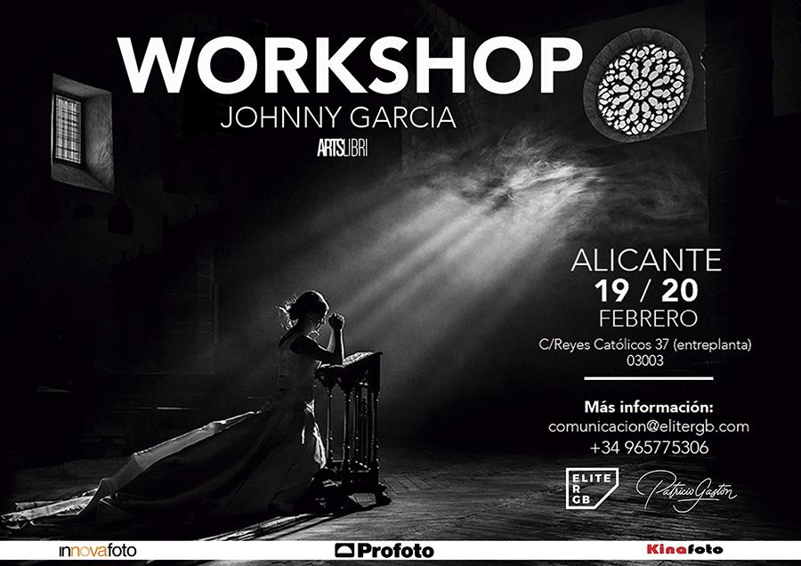 Cartel del workshop de Johnny García, fotógrafo de bodas, en Alicante este mes de febrero