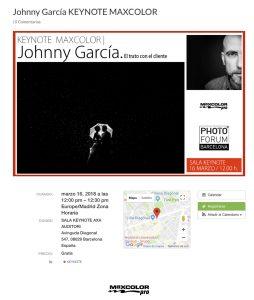Cartel de la KeyNote dentro del Photo Forum de Barcelona 2018 anunciando la ponencia de Johnny García
