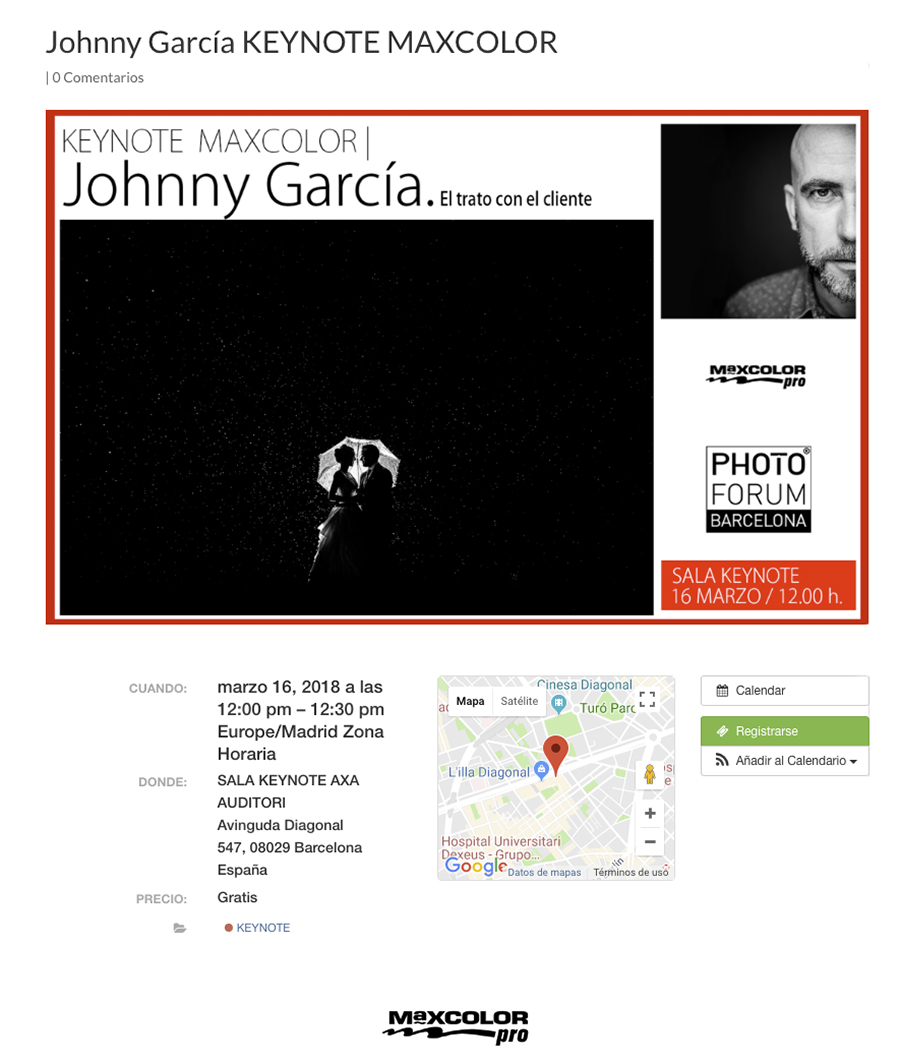 Cartel de la KeyNote dentro del Photo Forum de Barcelona 2018 anunciando la ponencia de Johnny García