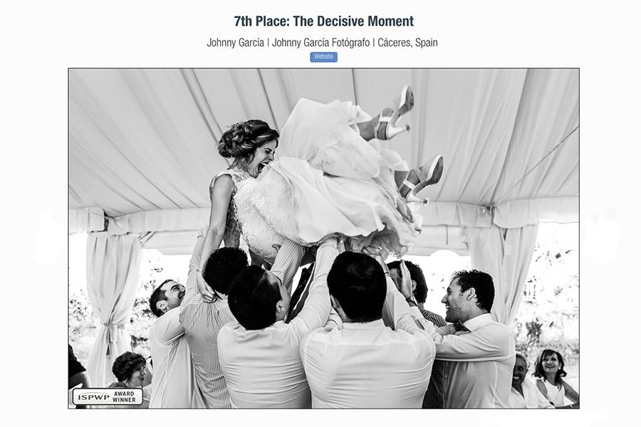 Fotografía premiada en la ISPWP realizada por el fotógrafo de bodas en Extremadura Johnny García, foto realizada en la finca de bodas El Rincón de Castilla