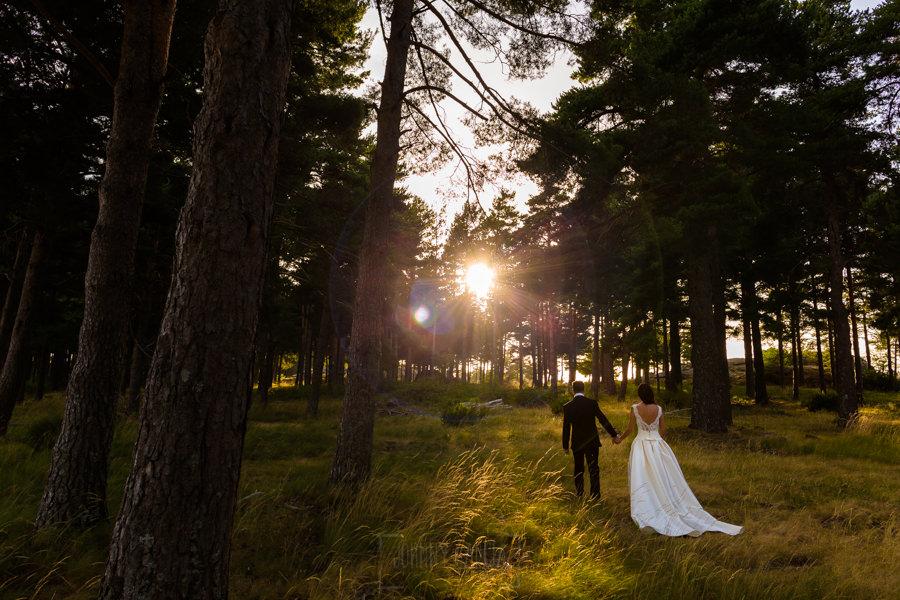 Bodas en Hervás, la boda de Laura y Carlos realizada por Johnny Garcia, fotógrafo de bodas en Extremadura, los novios pasean por el pinar de la Mauela