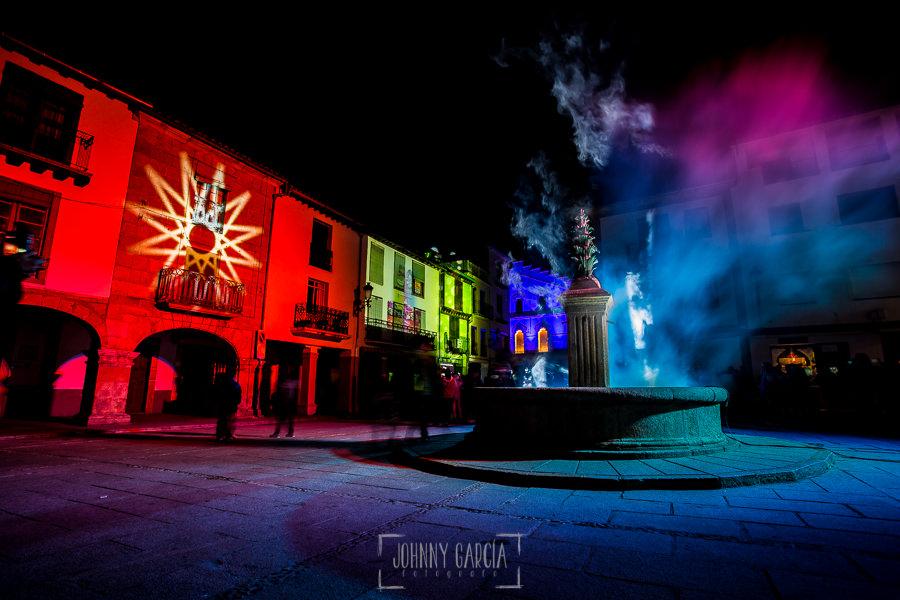 50 Aniversario de la Declaración Conjunto Histórico-Artístico de Hervás, Fotos realizadas pro el fotógrafo hervasense Johnny García, la plaza de la Corredera con las luces para la celebración
