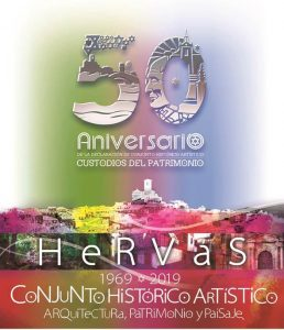 Logotipo 50 aniversario declaración Conjunto Histórico Artístico de Hervás