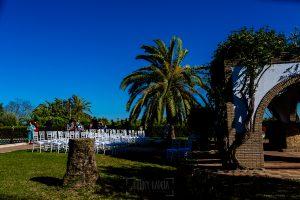 Boda en Hacienda de Regla, Sevilla, de Jessica y Sergio, Johnny García, fotógrafo de bodas en Sevilla; una vista de la zona de la ceremonia en la Hacienda de Regla.