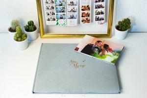 Libro de la boda de Ana y Álvaro en lino gris