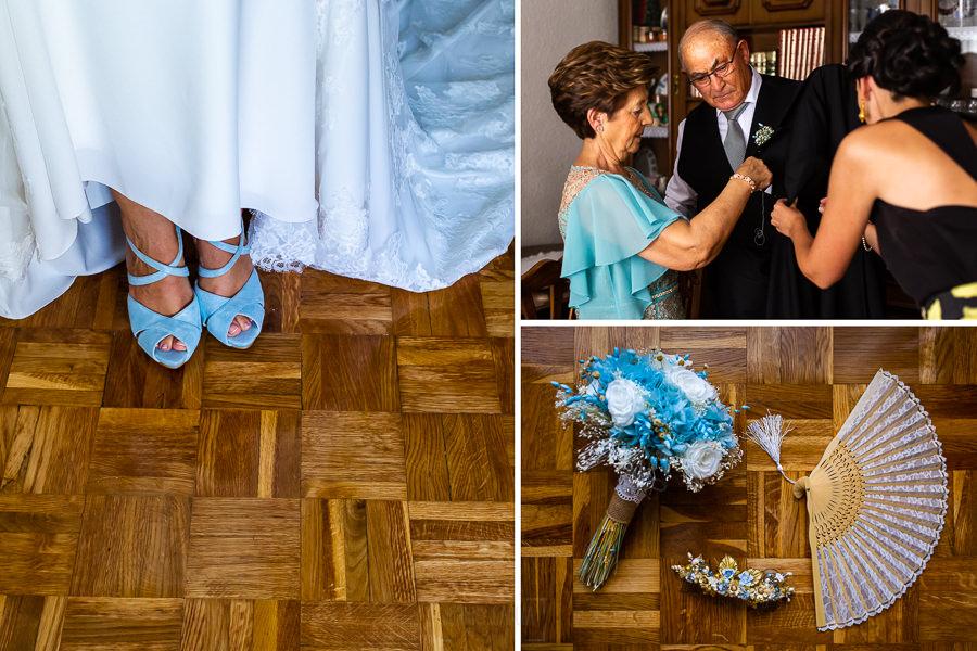 Bodas en Piedrahíta de Ana y Alberto, realizada por el fotógrafo de bodas en Salamanca Johnny García. Detalle de los zapatos y ramo de la novia.