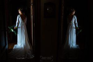Boda en Villaviciosa de Carmen y David realizada por el fotógrafo de bodas en Asturias Johnny García. Una foto de la novia,.