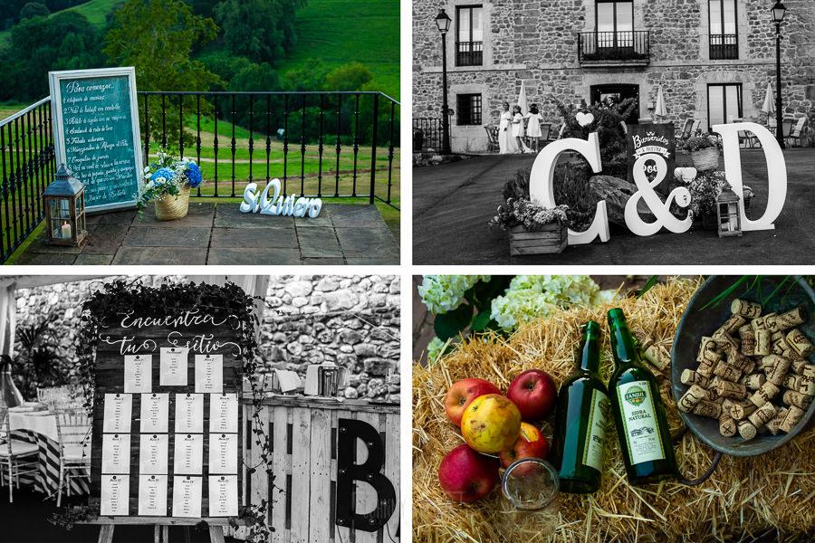 Boda en Villaviciosa de Carmen y David realizada por el fotógrafo de bodas en Asturias Johnny García. Detalles de la decoración del palacio.