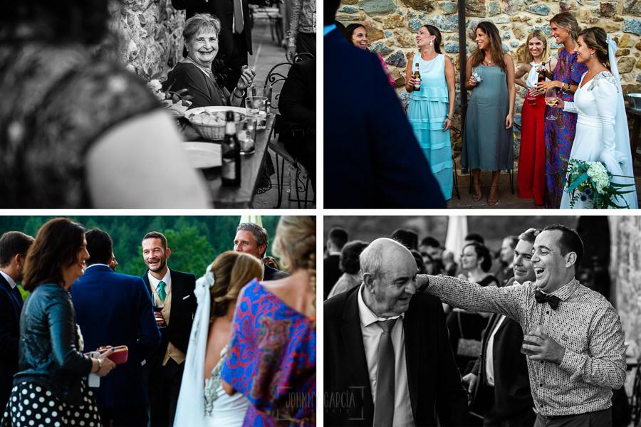 Boda en Villaviciosa de Carmen y David realizada por el fotógrafo de bodas en Asturias Johnny García. Varias fotos de los invitados disfrutando en el aperitivo.