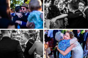 Bodas Jarandilla de la Vera, boda de Clara y David en el Hotel Ruta Imperial, fotos realizadas por Johnny García, fotógrafo de bodas en Cáceres. Varios abrazos entre familiares.