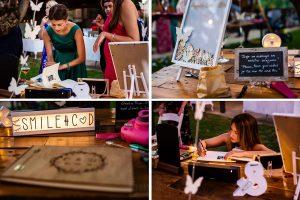 Bodas Jarandilla de la Vera, boda de Clara y David en el Hotel Ruta Imperial, fotos realizadas por Johnny García, fotógrafo de bodas en Cáceres. Detalles de la mesa de firmas.