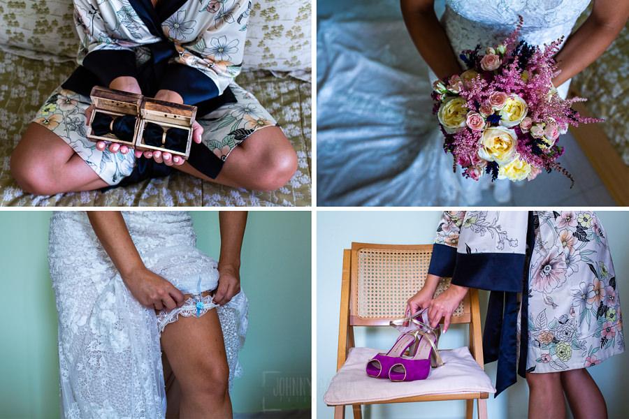 Boda en Aldeanueva del Camino de Sonia y Samuel realizada por el fotógrafo de bodas Johnny García. Detalles de los aniloo y ramo de la novia.