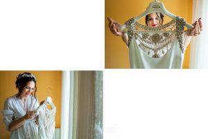 Boda en el Rincón de Castilla de Isa y Juan, realizada por el fotógrafo de bodas en Béjar Johnny García, detalles del vestido de Isa.
