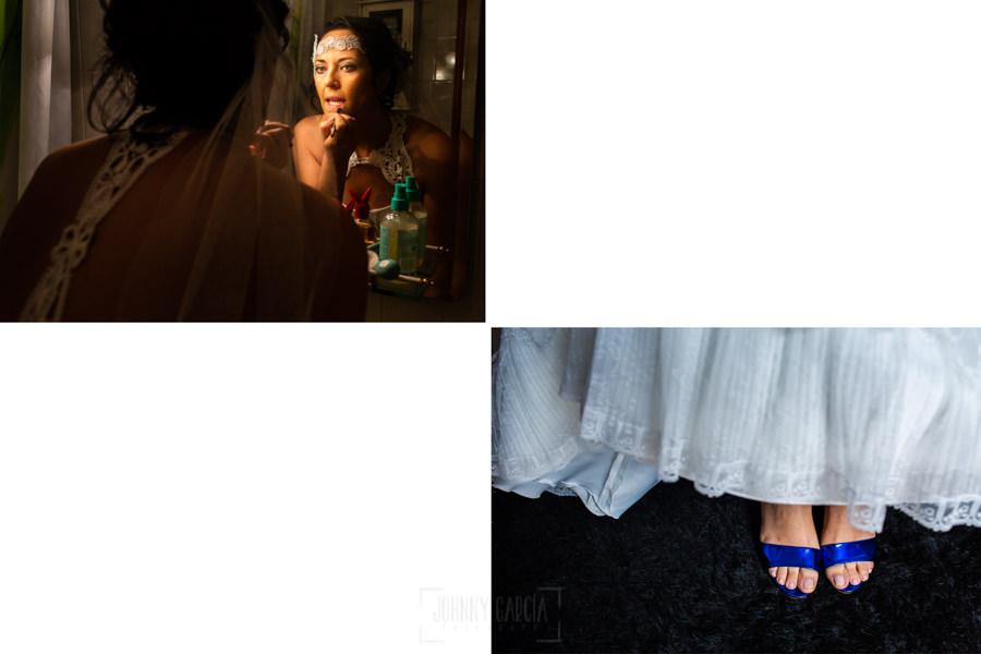 Boda en Segura de Toro de Araceli y César, captada fotográficamente por elfotógrafo de bodas en Cáceres Johnny García, detalle del maquillaje y de los zapatos de la novia