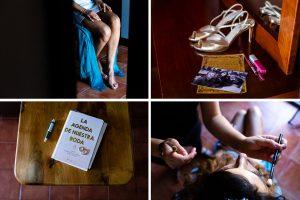 Boda en Hervás de Yolanda e Ignacio, foto realizada por el fotógrafo de bodas en Cáceres Johnny García. Detalles de la novia en casa.