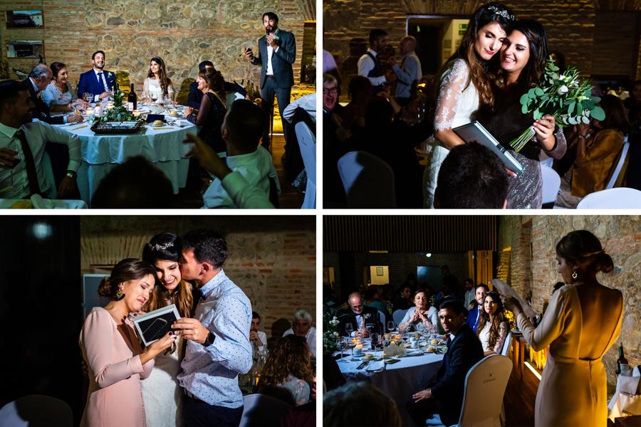 Boda en Hervás de Yolanda e Ignacio, foto realizada por el fotógrafo de bodas en Cáceres Johnny García. Momentos en la cena.