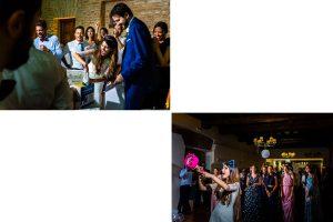 Boda en Hervás de Yolanda e Ignacio, foto realizada por el fotógrafo de bodas en Cáceres Johnny García. Los amigos les regalan unas cosas a la pareja durante la cena.