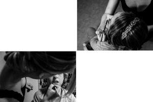 Boda en Puerto de Béjar de Susana y Benjamín, realizada por el fotógrafo de bodas en Guijuelo Johnny García. la novia en la sesión de maquillaje.